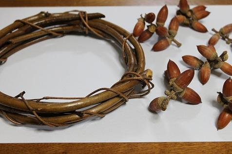 作り方> 枝のついたどんぐり(マテバシイ)を拾ってきます。 泥やホコリを落とすために一度水洗いをします。 よーく乾かします。 一つのかたまりずつどんぐりを外して